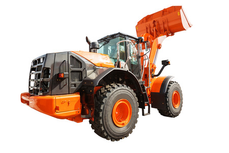 backhoe loader: Backhoe loader or bulldozer - excavator isolated on white background with clipping path Stock Photo