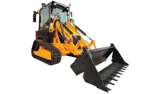 backhoe loader: Backhoe loader or bulldozer - excavator with isolated on white background