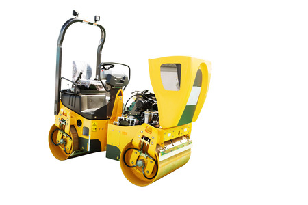 vibration: Moder soil vibration roller compactor isolated on white background Stock Photo