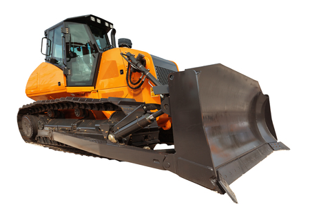 earthmover: Modern bulldozer excavator equipment isolated with clipping path
