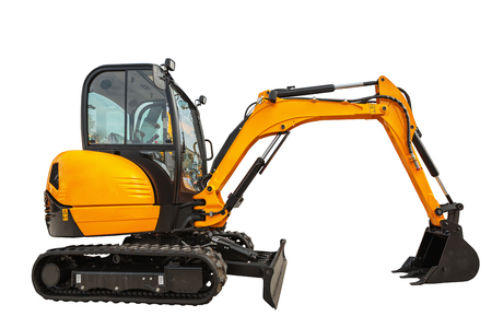Small or mini excavator with clipping path isolated on white background Stockfoto