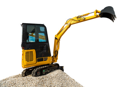 earthmover: Excavator bulldozer and rocks isolated on white background with clipping path Stock Photo