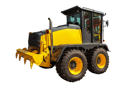 grader: Grader and Excavator Construction Equipment with clipping path isolated on white background