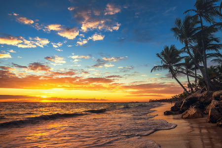 Punta Cana sunrise , Landscape of paradise tropical beach Stock Photo