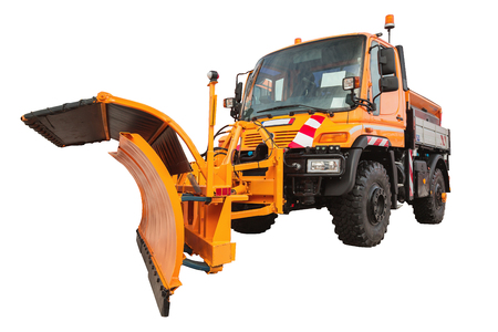 snow plow: Snow plow removal machine isolated on white background with clipping path