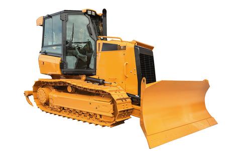 earthmover: Yellow Bulldozer excavator, isolated on white background