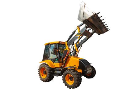 backhoe loader: Backhoe loader or bulldozer - excavator isolated on white background Stock Photo