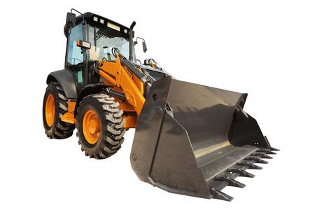 Backhoe loader or bulldozer   isolated on white background Stock Photo