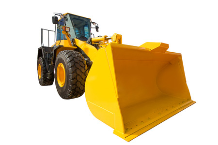 wheel loader: Wheel Loader excavator construction machinery equipment isolated on white background Stock Photo