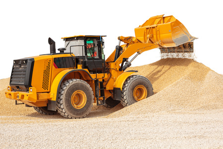 backhoe loader: Backhoe loader or bulldozer - excavator with clipping path isolated on white background