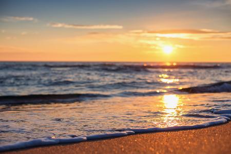 cana: Sea wave close up, low angle view, sunrsie shot Stock Photo