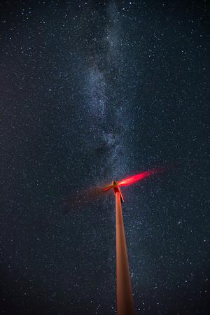 milkyway: Wind turbines on the starry night sky with milkyway Stock Photo