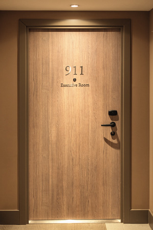 hotel door: Hotel door number, close up image Stock Photo