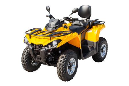 흰색 배경에 고립 된 노란색 ATV quadbike 스톡 콘텐츠