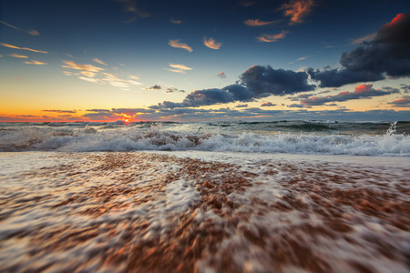 dominican: Sea wave close up, low angle view, sunrsie shot Stock Photo