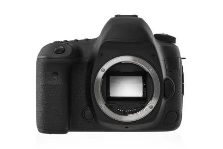 electronical: Isolated SLR camera on a white background