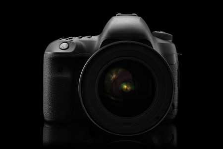 eos: Isolated SLR camera on a black background
