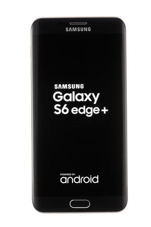 samsung galaxy: Varna, Bulgaria - October, 04, 2016: Studio shot of a black Samsung Galaxy S6 Edge+ smartphone, with 16 MP, f 1.9, 28mm Camera, quad-core 2,1 GHz and 1440 x 2560 pixels Display Resolution
