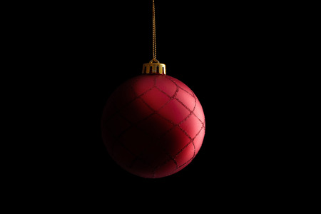 red christmas ball: Red Christmas Ball, isolated on black