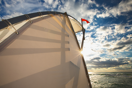 life guard stand: Red flag and sea and life guard stand