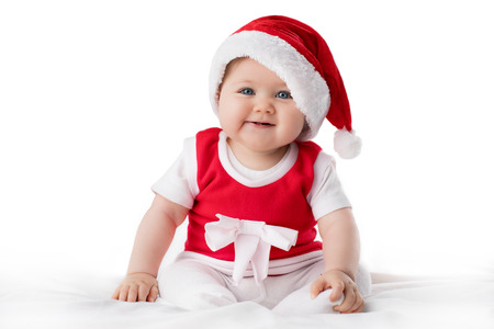 Christmas toddler in Santa hat
