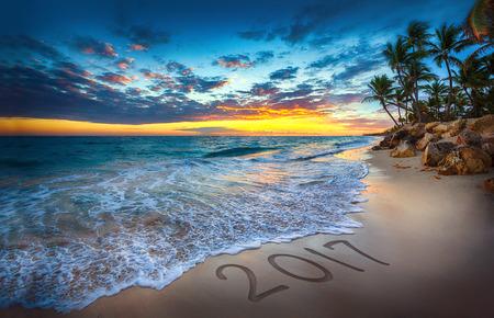 cana: Sunrise over the beach. Punta Cana