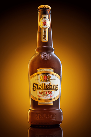 Varna, Bulgaria - December 16, 2016: Bottle of Stolichno Weiss beer, one of the top-selling beers in Bulgaria