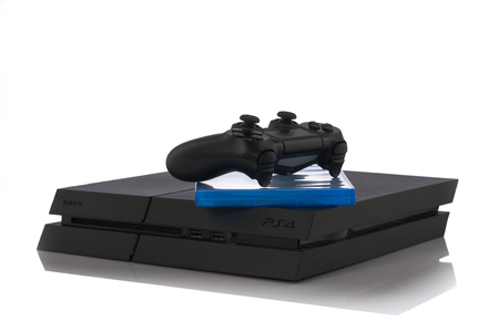 playstation: VARNA, Bulgaria - 18 November, 2016: Sony PlayStation 4 game console is a home video game console developed by Sony Interactive Entertainment.