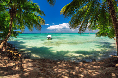Beautiful carribean sea, panoramic view from the beach Standard-Bild