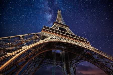 starry night: The Eiffel Tower at night in Paris, France. Editorial