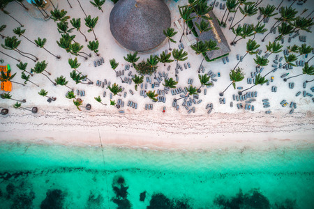 Aerial view of tropical island beach. Stock Photo