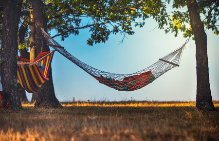 Relaxing in the travel hammock in the forest