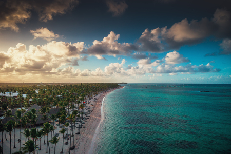 Aerial view of caribbean resort, Bavaro, Dominican Republic.