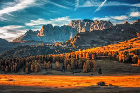 Luftherbstsonnenaufganglandschaft mit gelben Lärchen und kleines alpines Gebäude und Odle - Geisler Gebirgsgruppe auf Hintergrund. Seiser Alm, Dolomiten, Italien. Standard-Bild