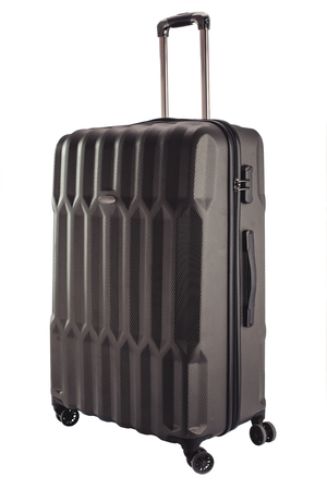 Gray suitcase for travalling on white background.