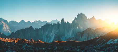 Dolomites Alps rocky mountain range at Tre Cime Di Lavaredo.