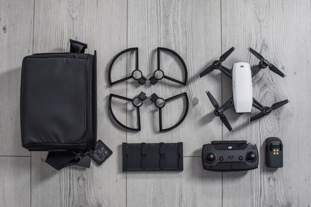 Varna, Bulgaria - February 17 ,2018: Flying drone quadcopter Dji Spark is mini drone that features all of DJI's signature technologies Editorial