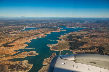 Aerial view of landscape from airplane near Madrid, Spain