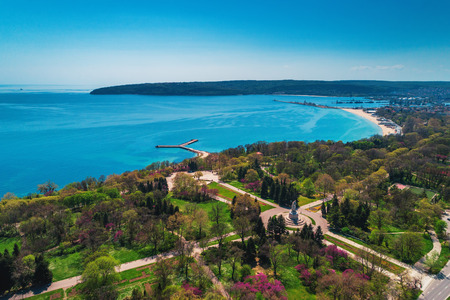 Varna spring time, beautiful aerial view above sea garden. Stock Photo