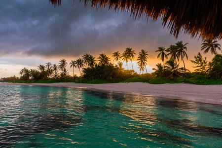 Beautiful view toward tropical beach from wooden water villa, Punta Cana Banco de Imagens - 105478837