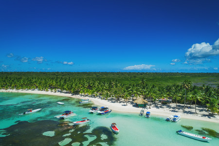 Aerial view of tropical island beach, Dominican Republic Stok Fotoğraf