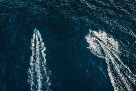 Speed boat on the sea, aerial view. Archivio Fotografico