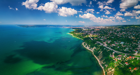 Aerial drone view of sea and coast above Varna, Bulgaria. Beautiful summer day.