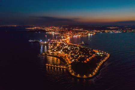 Night view of Nessebar, the ancient city on the Black Sea coast of Bulgaria. Panoramic aerial view.
