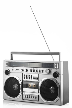 1980s Silver retro radio boom box with antenna up isolated on white background.