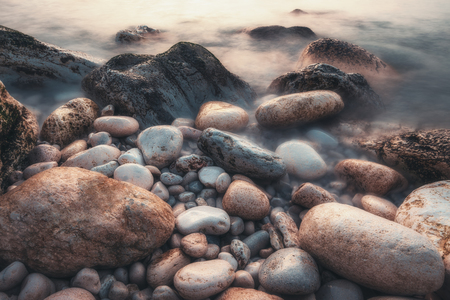 Long exposure of sea and rocks.
