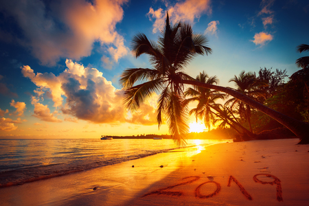 Happy New Year 2019 concept, lettering on the beach. Sea sunrise. Punta Cana