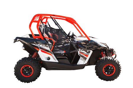 ATV quad bike or buggy car isolated on white background with clipping path. Imagens