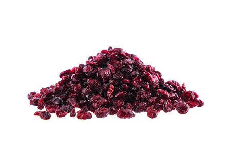 Heap of dried cranberries isolated on white background.
