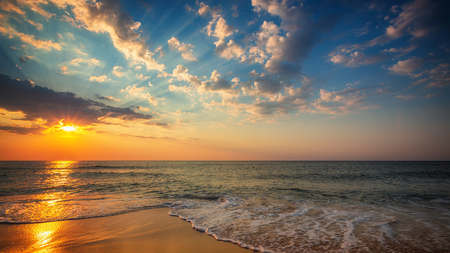 Beautiful cloudscape over the sea, sunrise shot Stock Photo